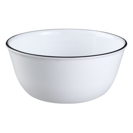 Corelle Livingware 28 Ounce Super Soup Cereal Bowl Classic Cafe Black Rim  3 Bowls