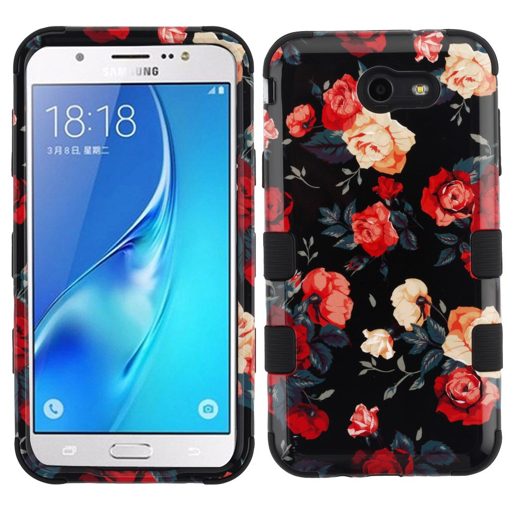 Samsung Galaxy J7 Sky Pro 4G LTE Case - TUFF Series [Military Grade Drop Tested - MIL-STD 810G-516.6] Heavy Duty Shock Resistant Protective Case (Roses) and Atom Cloth