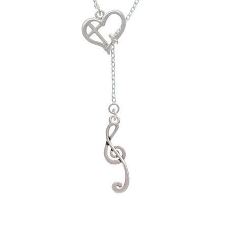 Long Lariat - Long Curly Clef Cross in Heart Lariat Necklace