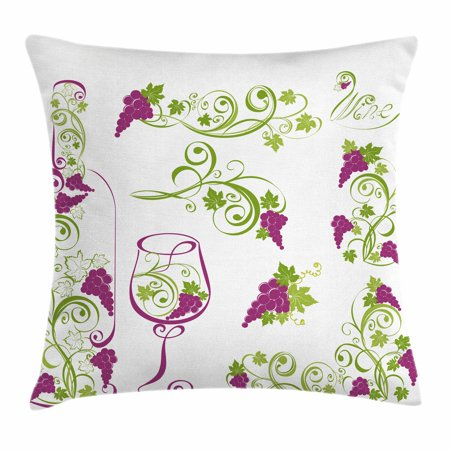 Wine Throw Pillow Cushion Cover, Wine Bottle and Glass Grapevines Lettering with Swirled Branches Lines, Decorative Square Accent Pillow Case, 16 X 16 Inches, Purple Lime Green White, by (Grapevine Town Square)