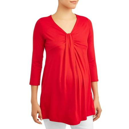 Oh! Mamma Maternity Solid 3/4 Sleeve Knot Front Top, Also in Plus Sizes
