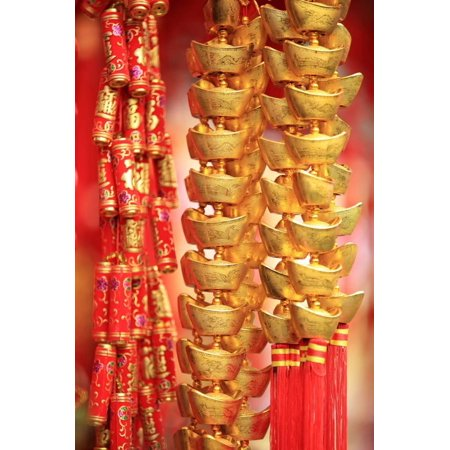 Chinese New Year Decorations.Fake Gold Ingot Best Wishes for Wealthy in the Coming New Year Print Wall Art By (Best Inspirational New Year Wishes)