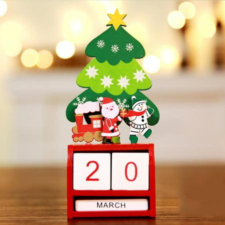 Christmas Mini Wooden Calendar Xmas Ornament Home Decoration Craft - Craft Christmas Gifts