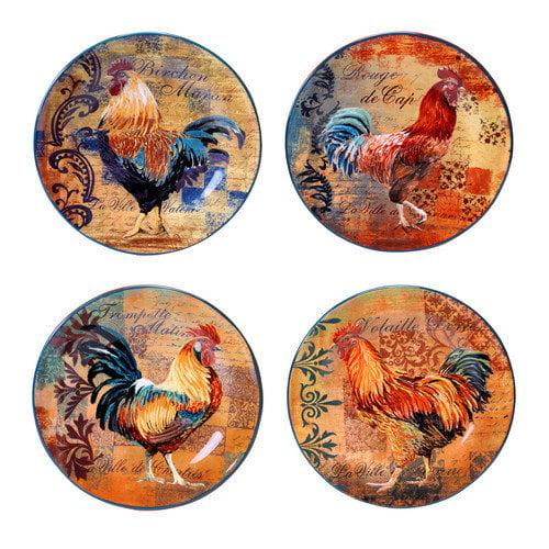 Certified International Rustic Rooster 8.75'' 4 Piece Dessert Plate Set