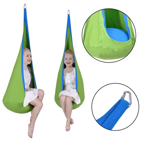 Costway Child Pod Swing Chair Tent Nook Indoor Outdoor Hanging Seat Hammock Kids (Kids Nook)