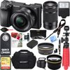 Sony ILCE-6300 a6300 4K Mirrorless Camera 16-50mm & 55-210mm Zoom Lens 64GB Kit (Black) + 64GB Accessory Bundle + DSLR Photo Bag + Extra Battery+Wide Angle Lens+2x Telephoto Lens+Flash+Remote+Tripod E12SNILCE6300X2 CAMERA INCLUDES:Sony ILCE-6300 a6300 Mirrorless Digital CameraSony 16-50mm Power Zoom LensRechargeable Battery NP-FW50Shoulder StrapBody CapAccessory Shoe CapEyepiece CupMicro USB Cable55-210mm Zoom LensLens HoodLens capLens rear capBUNDLE INCLUDES:Large Gadget Bag for SLR Digital CamerasC1300 Bridge Camera Hard Case64GB Extreme SD Memory UHS-I CardInfoLithium H Series NP-FW50 Spare BatteryPro .43x Wide Angle Lens w/ MacroPro 2x Telephoto Lens Converter40.5mm UV, Polarizer & FLD Deluxe Filter kit (set of 3 + carrying case)40.5mm/58mm Step-up ringCorel PaintShop Pro X912-inch Rubberized Spider Tripod, LargeWireless Shutter Release Remote ControlBounce Zoom Slave Flash Enhance Pho ...
