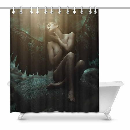 MKHERT Fantasy Gothic Medieval Fallen Angel with Black Wings Waterproof Shower Curtain Decor Fabric Bathroom Set 60x72 inch
