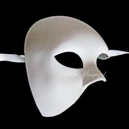 BeMasqued White Phantom of The Opera Mask Half-Face Men Adult Unisex One Size Masquerade Prom Mardi Gras Ballroom Theater Halloween Costume Party