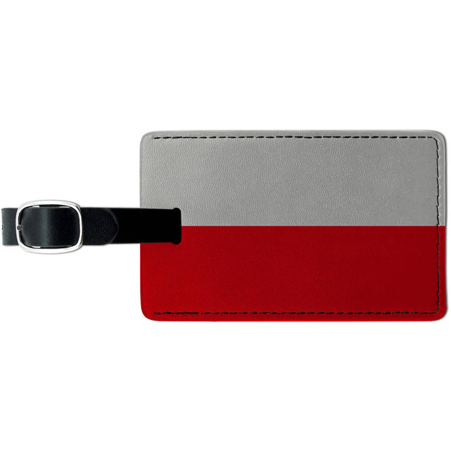 Poland Flag Leather Luggage ID Tag Suitcase Carry-On by Graphics and More