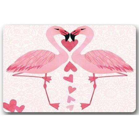WinHome The lion and the rabbit Flamingo Doormat Floor Mats Rugs Outdoors/Indoor Doormat Size 23.6x15.7 inches