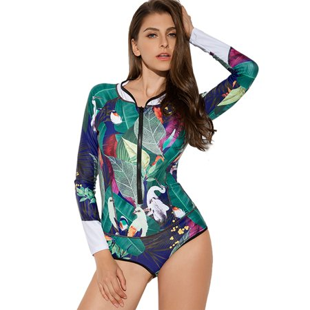 3af2963c4d5 Sexy Dance - Women One Piece Swimsuit Swimwear Long Sleeve Floral Print  Push-up Padded Green Zipper Swimming Costume Surfing Diving Suit -  Walmart.com