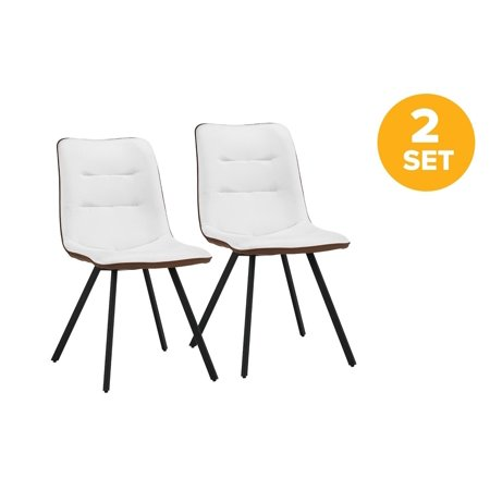 Set of 2 Dining Chairs Faux Leather Kitchen Chairs with ...