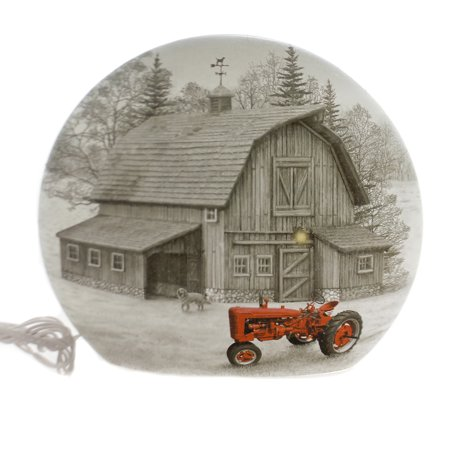 Stony Creek FARM LIGHTED ROUND VASE Glass Barn House (House Glass Vase)