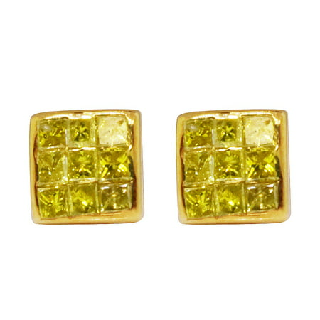Canary Yellow (10K Yellow Gold Real Canary Princess Diamond Studs Earrings)