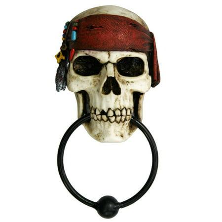 Nautical Buccaneer Pirates Skull Door Knocker Halloween Decor Figurine 7.85 Inch Tall - Homemade Halloween Bookmarks