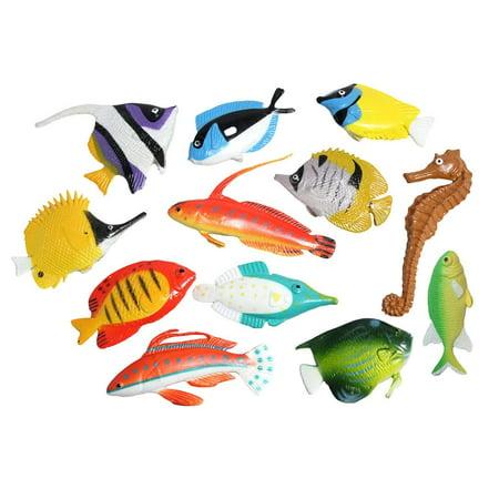 Tropical Fish Animal Figurines - Mini Fish Action Figures Replicas - Miniature Ocean, Fish, Aquatic Toy Animal Playset - Plastic Animal Figurines