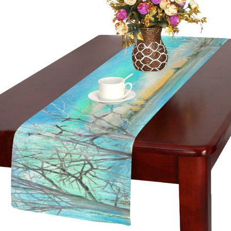 Mypop night winter landscape kitchen dining table runner for 85 inch table runner