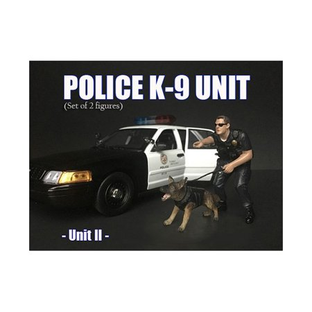 Police Officer Figure with K9 Dog Unit II for 1/24 Scale Models by American Diorama