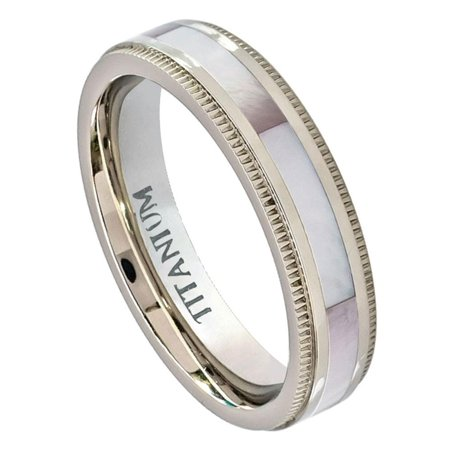 Men Women 5MM Comfort Fit Titanium Wedding Band Pinkish Hued Mother of Pearl Inlay Titanium Ring (Size 5 to 8)