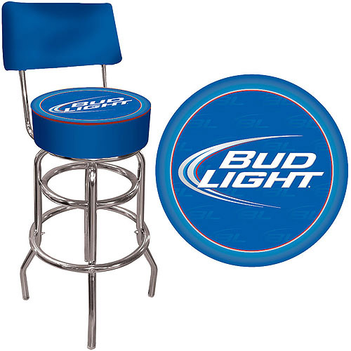 "Trademark Bud Light Blue 40"" Padded Bar Stool with Back, Chrome"