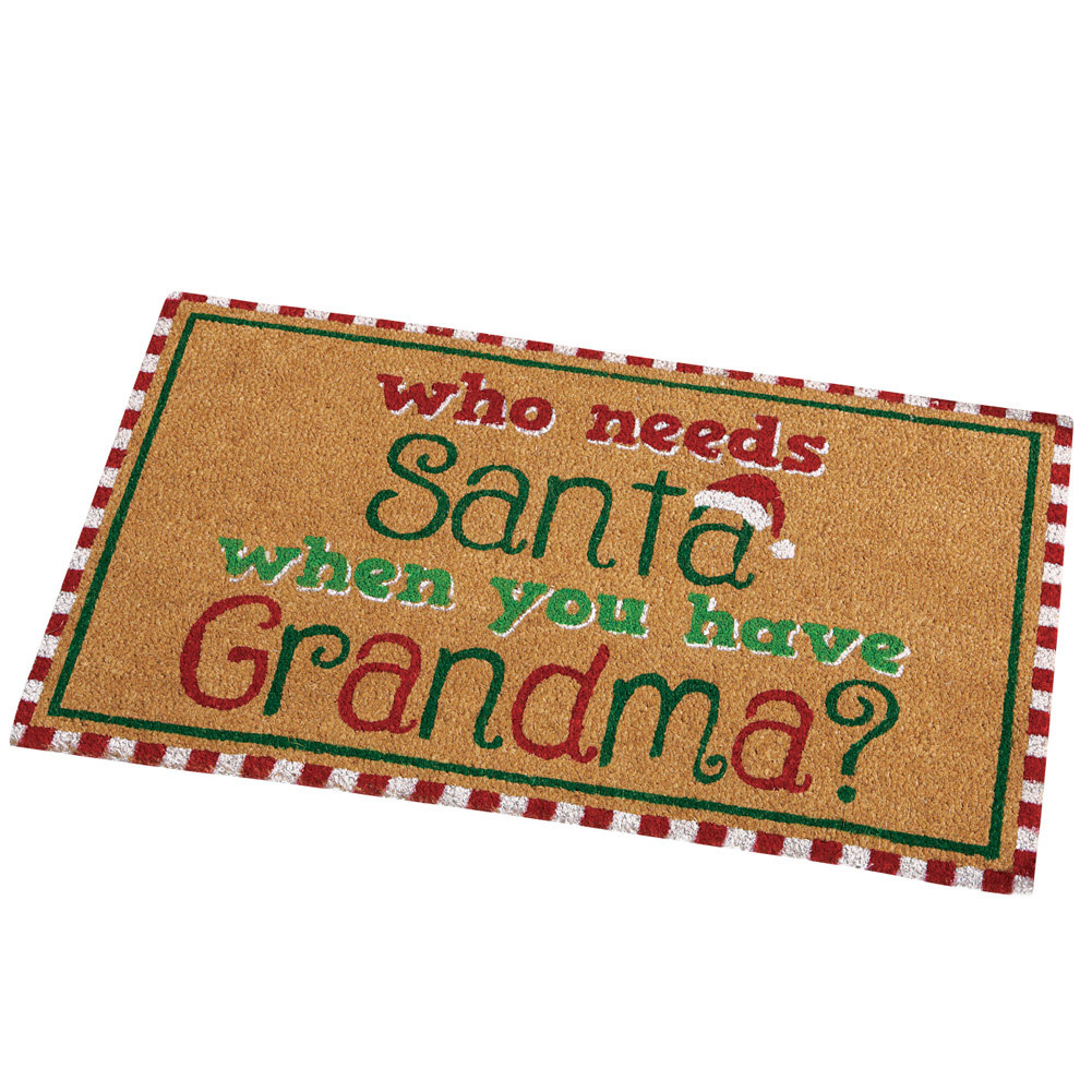 Grandma Santa Funny Christmas Front Door Mat Decoration
