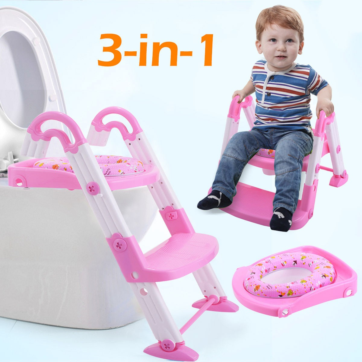 3 in 1 Baby Potty Training Toilet Chair Seat Step Ladder Trainer Toddler Pink by Apontus