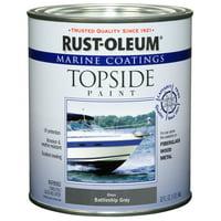 Rust-Oleum Marine Coatings Topside Marine Paint Gloss Battleship Gray, Quart