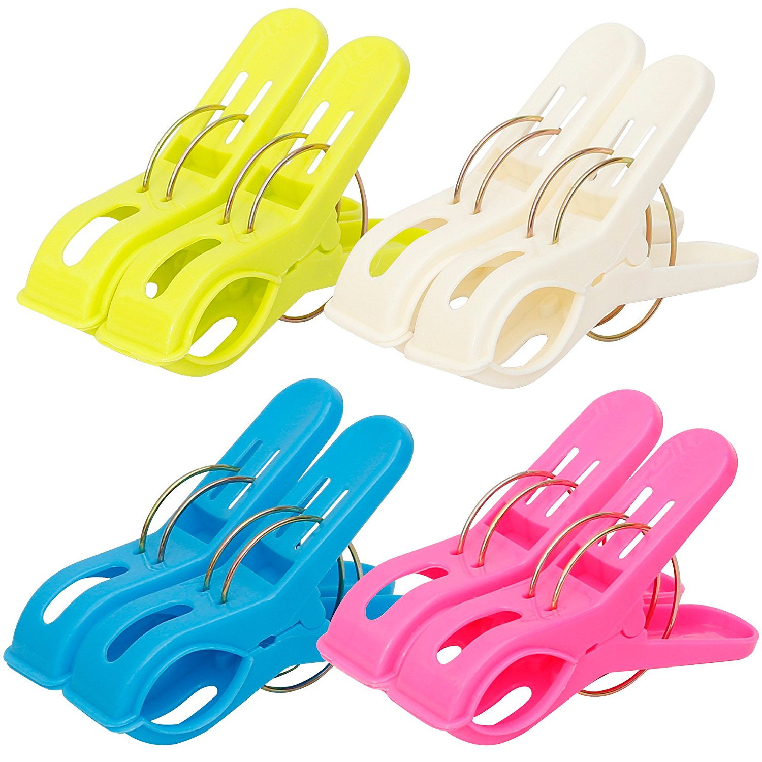 IPOW 8 Pack Towel Clips Plastic Quilt Hanging Clips Clamps Holder for Beach Chair or Pool Loungers on Your Cruise - Clothes Lines Clips, Jumbo Size