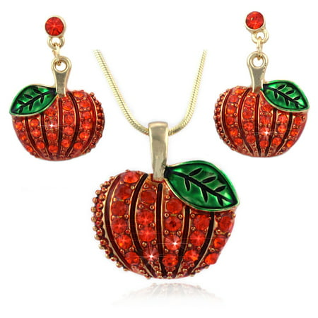 Fall Harvest Pumpkin Turkey Earrings Necklace Set Thanksgiving Halloween Jewelry Set (Pumpkin Dot Dangle (Halloween Jewelry)