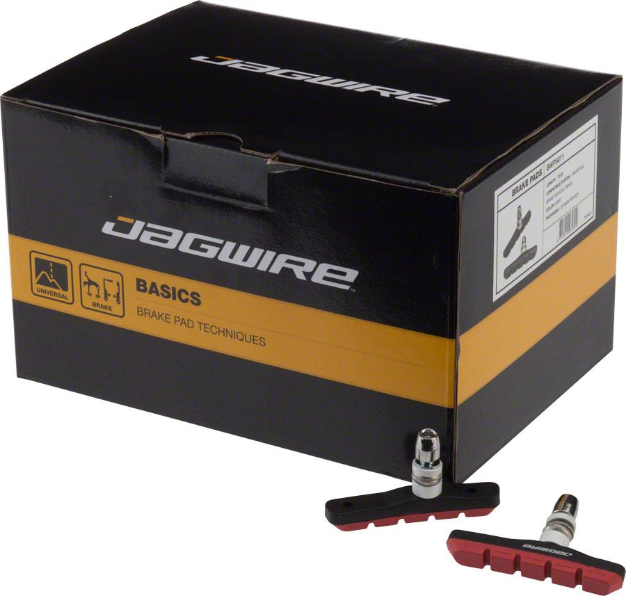 Jagwire Mountain Sport Brake Pads Threaded Post Box of 25 Pair, Red