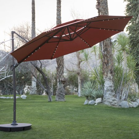 Coral Coast 11 ft. Steel Lighted Offset Olefin Patio Umbrella & -