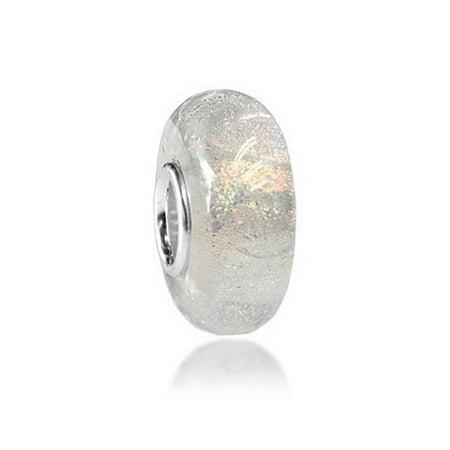 Foil Jewelry (White Glitter Foil Rainbow Murano Glass 925 Sterling Silver Spacer Bead Fits European Charm Bracelet For Women For Teen )