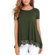 Women's Tops Short Sleeve Lace Trim O-Neck A-Line Tunic Blouse