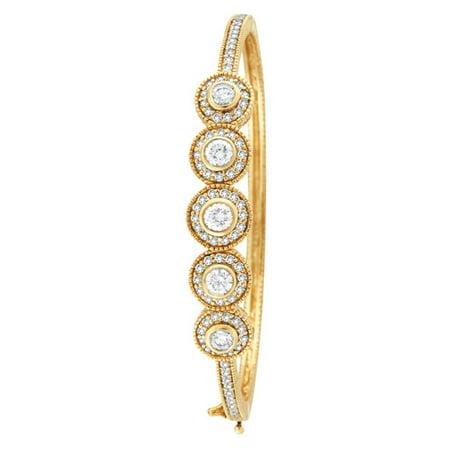 Vintage Style Diamond Bangle Bracelet 18K Yellow Gold (Vintage Yellow Bracelet)