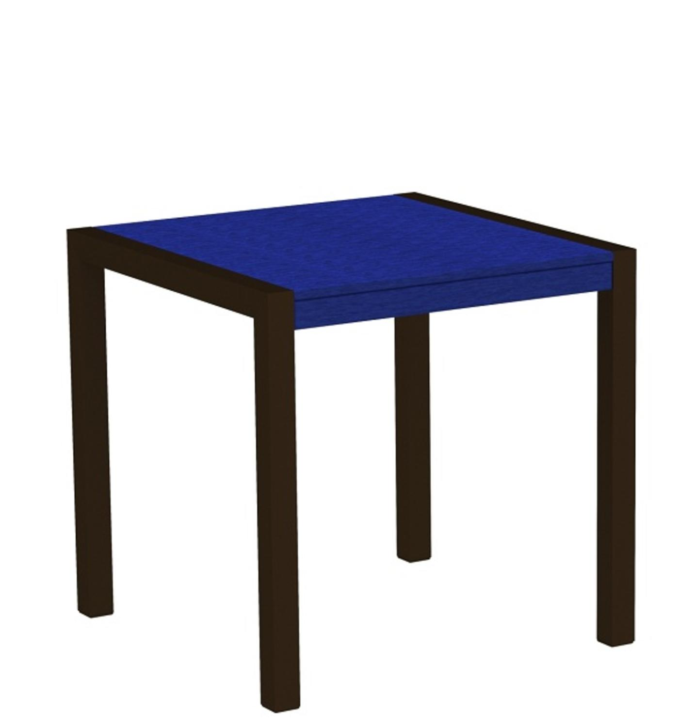 "30"" Recycled Earth-Friendly Outdoor Bistro Table - Blue with Bronze Frame"