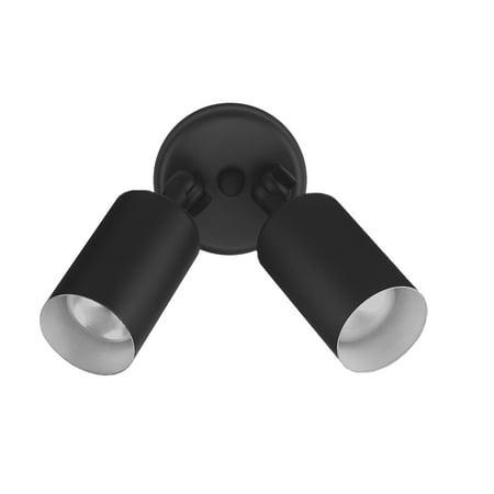 Double Outdoor Floodlight - NICOR Lighting 50-Watt Double Bullet Adjustable Outdoor Flood Light, Black (11521)