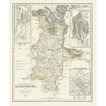 Old Germany Map Bremerhaven Bremen 1852 23 X 27 Walmart Com