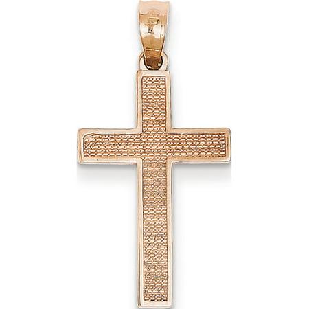 Leslies Fine Jewelry Designer 14k Rose Gold Rose Cross (15x24mm) Pendant Gift Designer Rose Cross