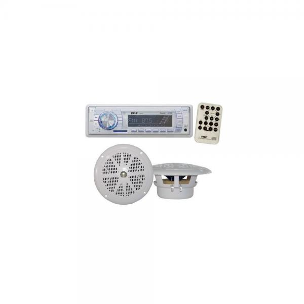 Click here to buy Marine AM FM-MPX PLL Tuning Radio w SD MMC & USB With Two 4'' Speakers by Pyle.