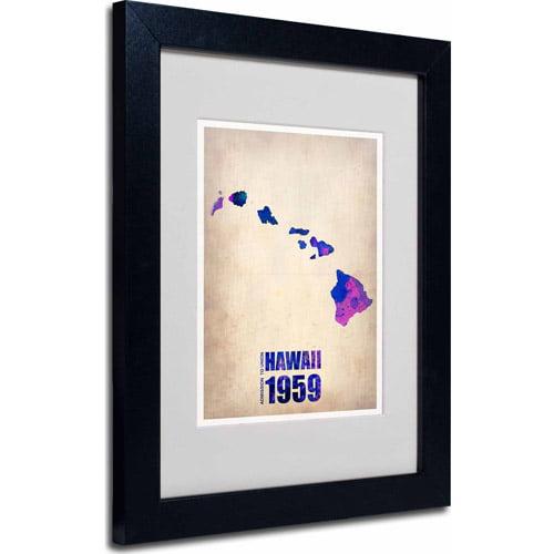 "Trademark Fine Art ""Hawaii Watercolor Map"" Matted Framed Art by Naxart, Black Frame"