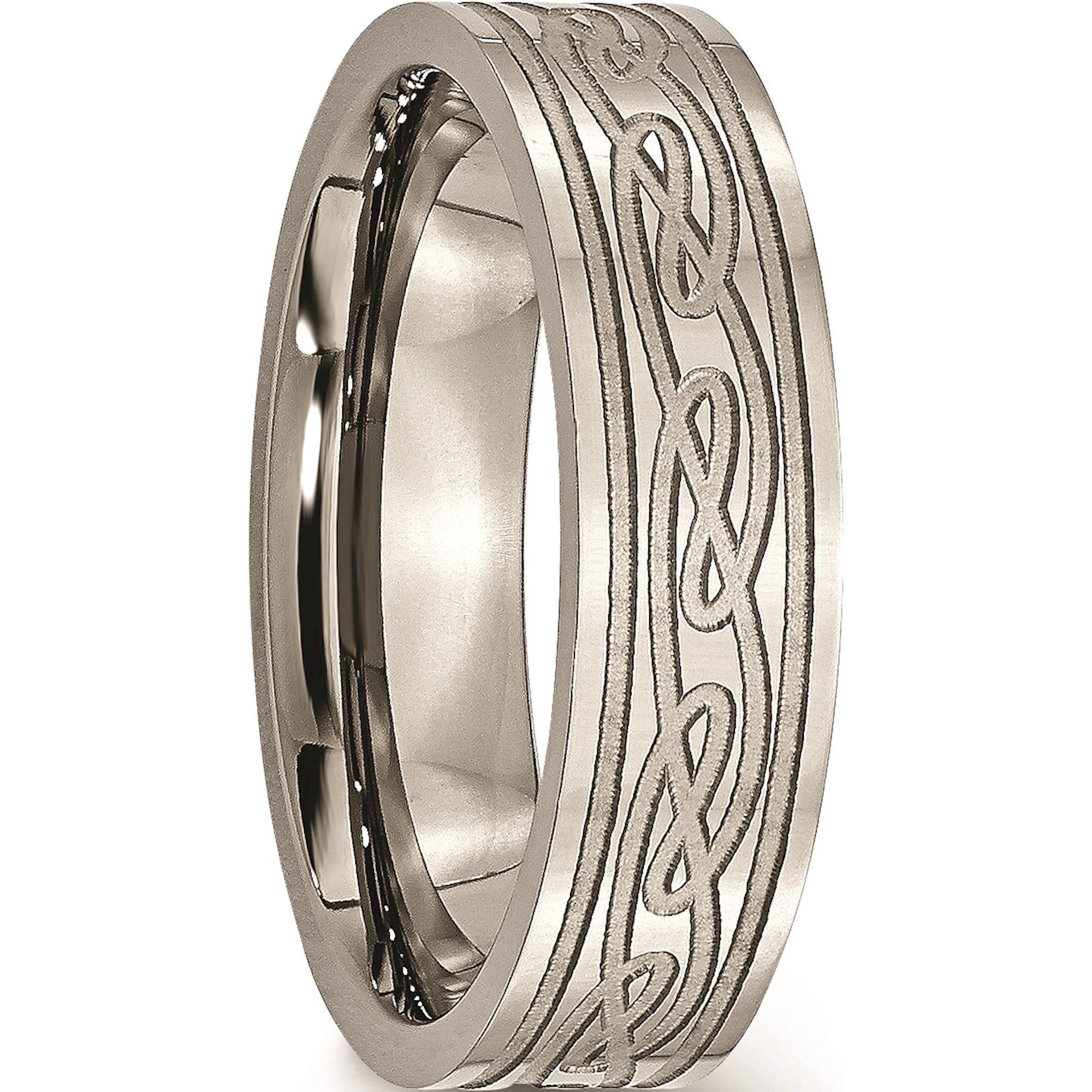 Jbsp Titanium Flat Laser Etched Celtic Knot 6mm Polished Band