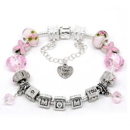 Silver Polished Pink I Love You Mom Mothers Day European Style Bracelet Premade With Charm Beads - Mother's Day Charms