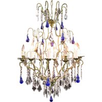 Large Maria Theresa Style 12-Arm Chandelier, Blue Murano Glass Pear Pendants