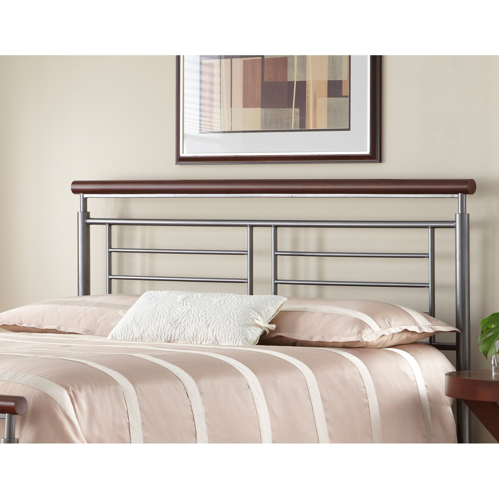 Fontane Metal Headboard With Geometric Panel And Rounded Cherry Top Rail,  Silver Finish, California