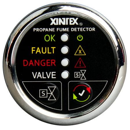 Fireboyxintex P-1CS-R Xintex Xintex Propane Fume Detector W/plastic Sensor & Solenoid Valve - Chrome Bezel Display