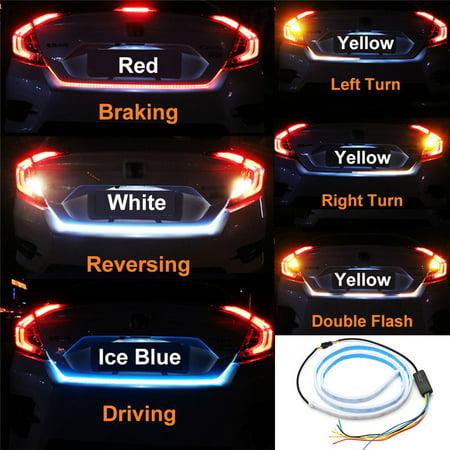 48'' 5IN1 LED Car Strip Tail Tailgate Light Bar Truck Running Brake Reverse  Turn Signal Lamp 5 Mode Flow Warning Light