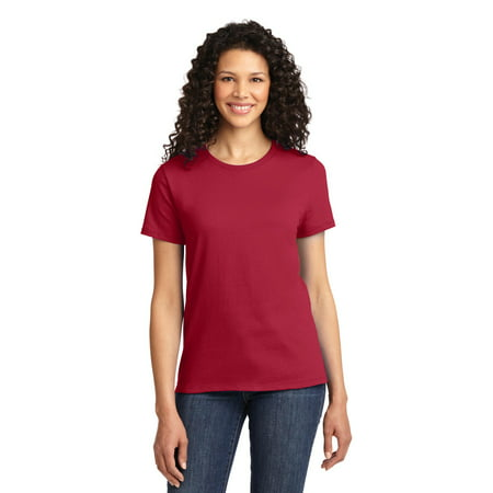 Port & Company Ladies 100% Cotton Essential T-Shirt. Red. - Star Trek Blue Shirt Character