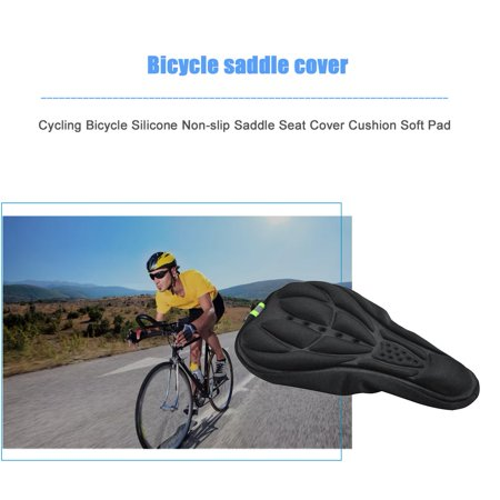 Cycling Bicycle Silicone Non-slip Saddle Seat Cover Cushion Soft Pad Thick Saddle Bicycle Seat Cushion Cover Shock Absorption - image 4 de 7