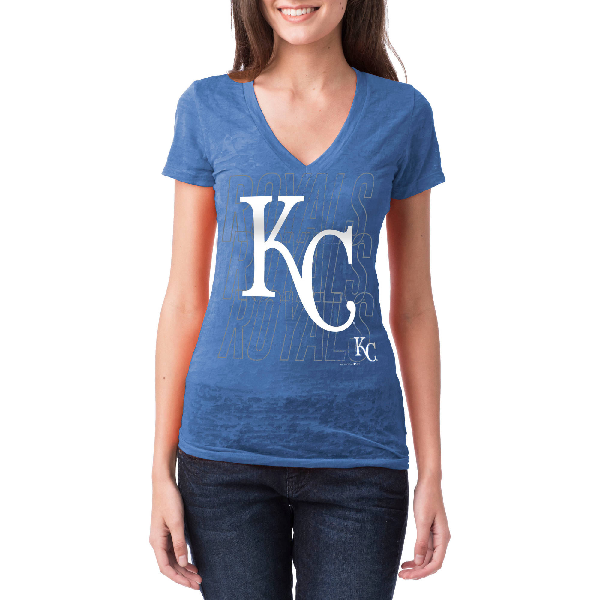 Kansas City Royals Womens Short Sleeve Burnout Graphic Tee