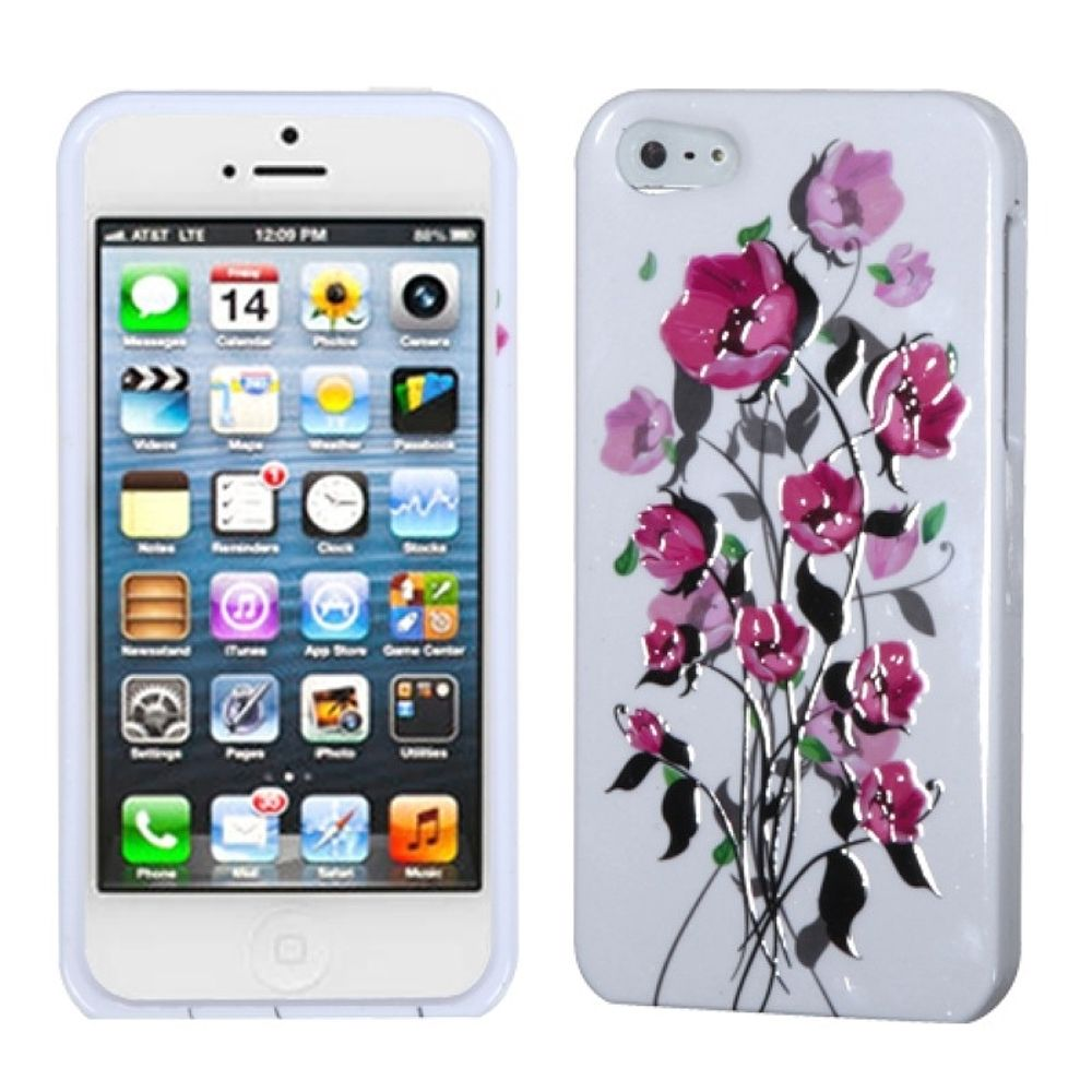 Insten Spring Flowers Hard Cover Case For Apple iPhone 5/5S/SE - White/Pink
